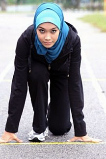 A First: Sarah Attar was one of two women who competed for Saudi Arabia. (Image source: The Washington Times)